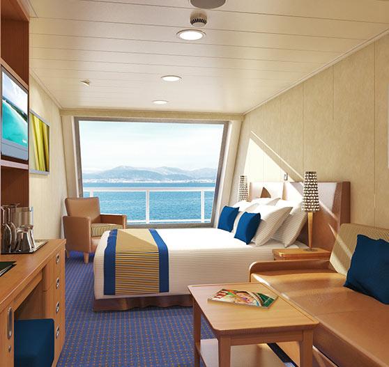Scenic ocean view stateroom interior on carnival valor.