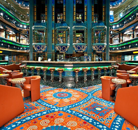 Atrium interior on Carnival victory.