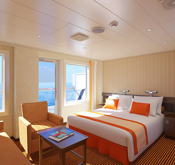 Ocean suite stateroom interior on Carnival victory.