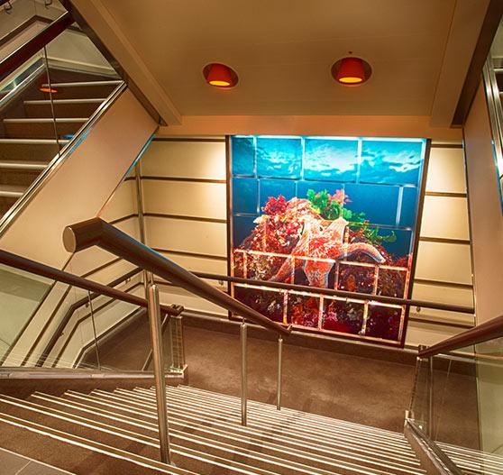 Interior stairway on carnival vista.
