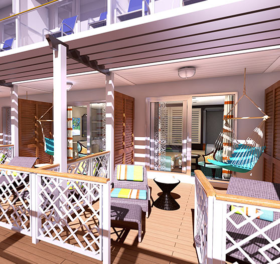 Havana cabana extended balcony on carnival vista.