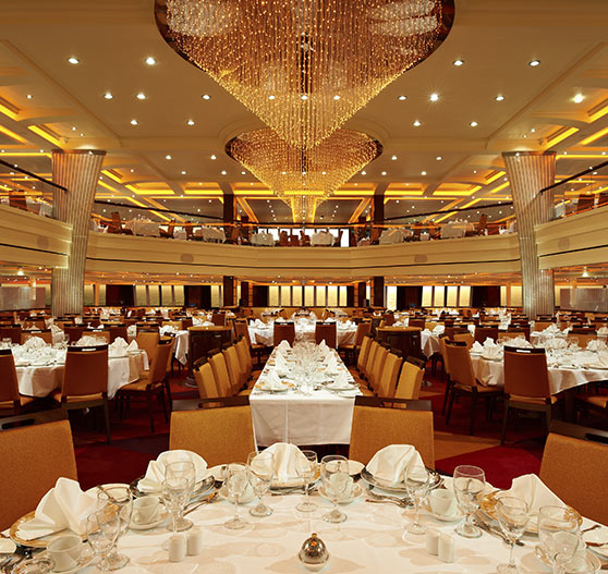 Interior of dining room on Carnival Breeze.