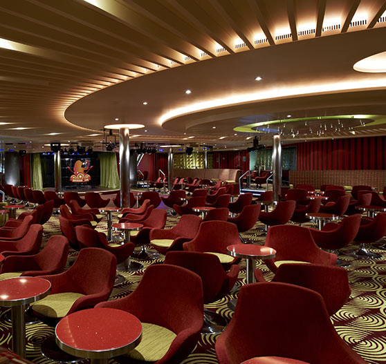 Interior of Limelight lounge on Carnival Breeze.