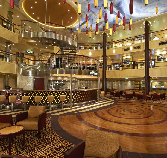 Interior of atrium on Carnival Breeze.