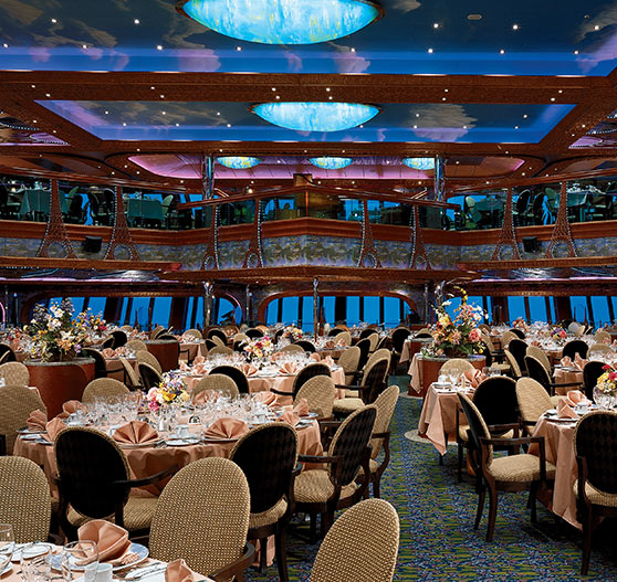 Interior of dining room on Carnival Conquest.