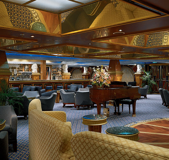 Interior of piano bar on Carnival Conquest.