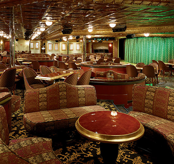 Lounge interior on Carnival Conquest.