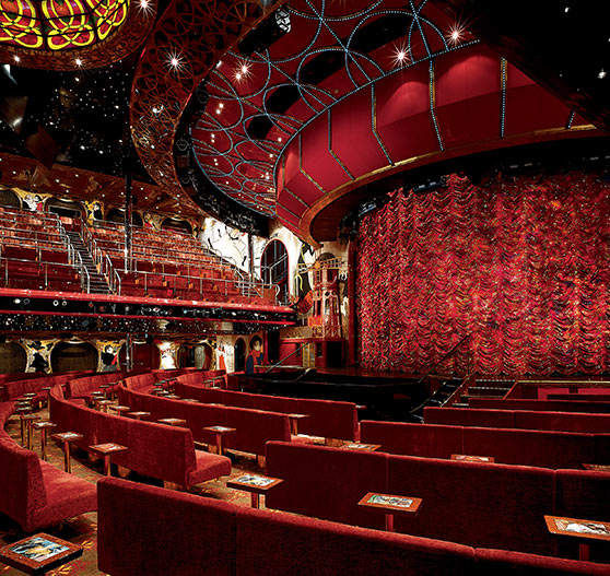 Interior of large theater on Carnival Conquest.