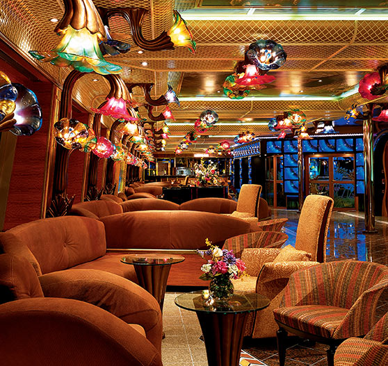 Interior of lounge area on Carnival Conquest.