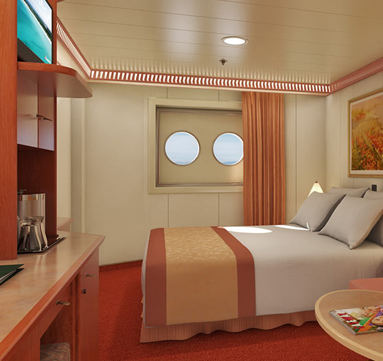 Interior of porthole stateroom on Carnival Conquest.
