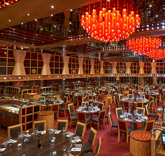 Interior of Scarlett restaurant on Carnival Dream.