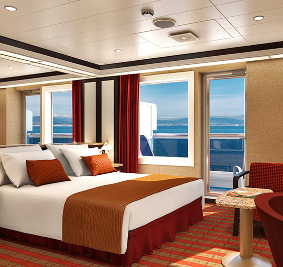 Interior of Cloud 9 suite stateroom on Carnival Dream.