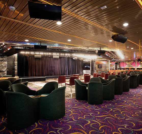Interior of lounge starlight stage on Carnival Ecstasy.