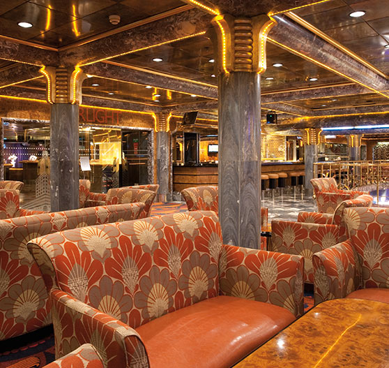 Lounge bar interior on Carnival Ecstasy.