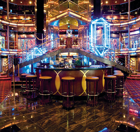 Atrium bar interior on Carnival Ecstasy.
