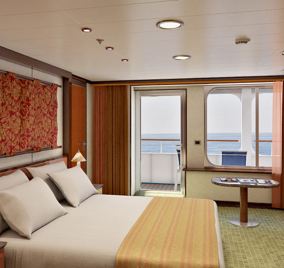 Interior of grand suite stateroom on Carnival Ecstasy.
