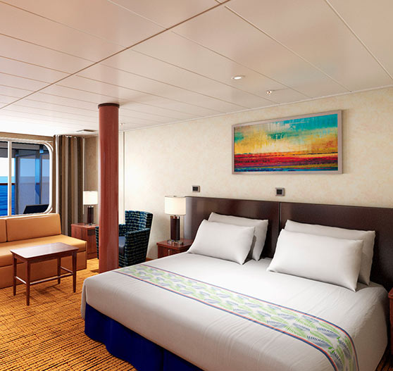 Interior of extended balcony on grand suite stateroom.