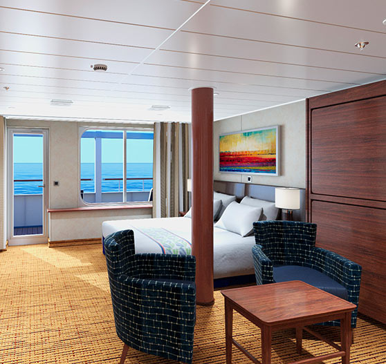 Interior of grand suite stateroom on carnival elation.