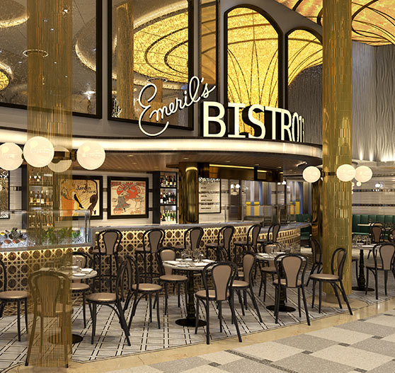 Interior of Emeril's Bistro 1396 restaurant on Mardi Gras.