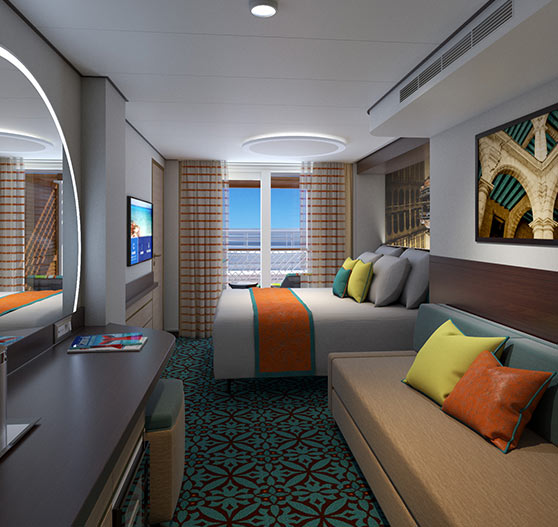 Interior of Havana Cabana stateroom on Mardi Gras.