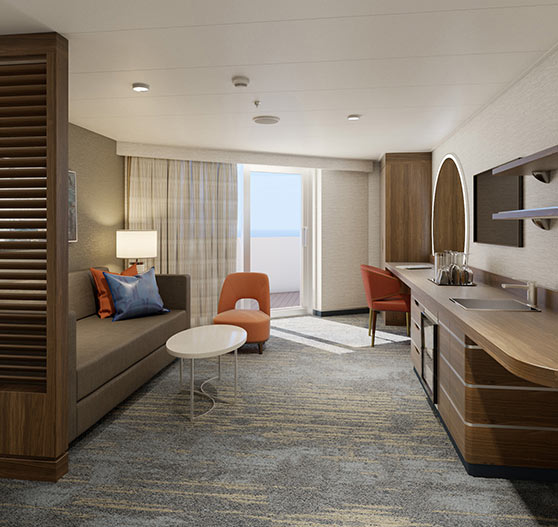 Interior of Excel corner suite stateroom on Mardi Gras.
